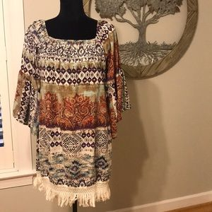 Black Bead Dress or Tunic with Fringe Size Small